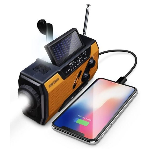 FosPower - Emergency Solar Hand Crank Portable Radio