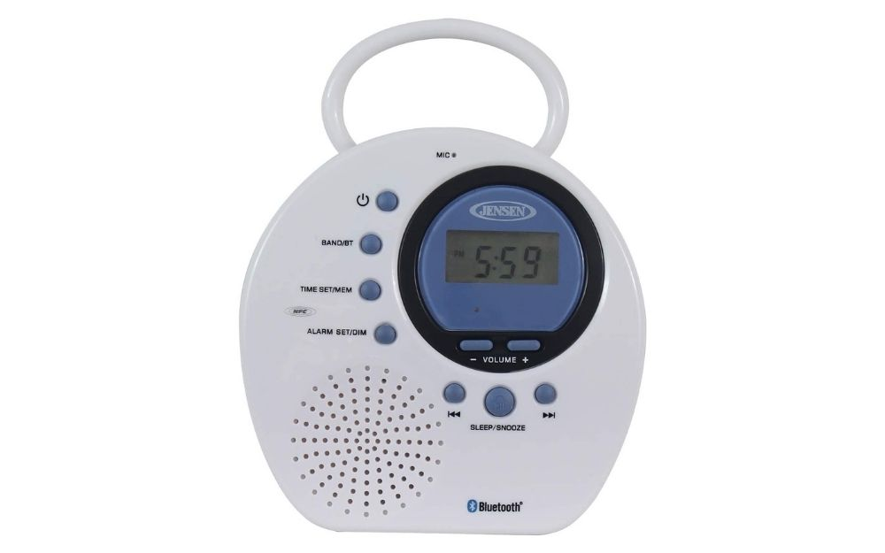 Jensen - JWM-160 Water-Resistant Digital AM_FM Bluetooth Shower Clock Radio